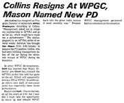 Collins Resigns at WPGC, Mason Named New PD