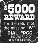 "WPGC - $5,000 Reward For The Return Of The Missing ""W"""