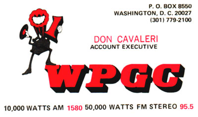 WPGC - Don Cavaleri business card