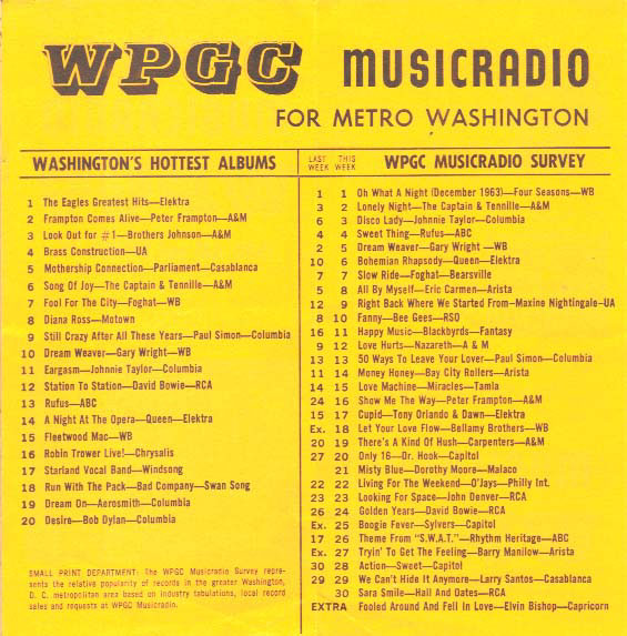 WPGC Music Survey Weekly Playlist - 03/20/76 - Inside