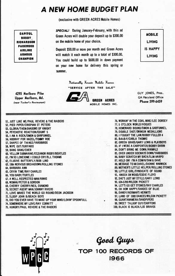 WPGC Good Guys Top 100 Records of 1966
