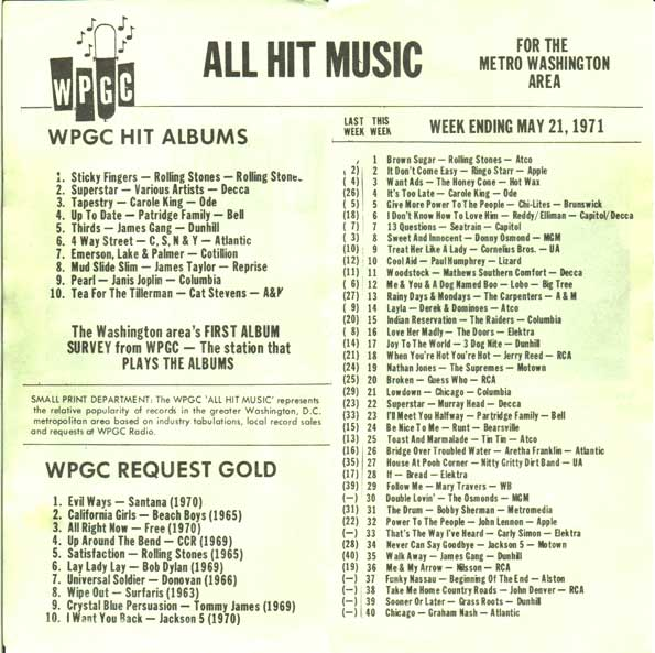 WPGC Music Survey Weekly Playlist - 05/21/71 - inside
