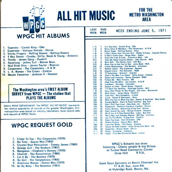 WPGC Music Survey Weekly Playlist - 06/05/71 - Inside