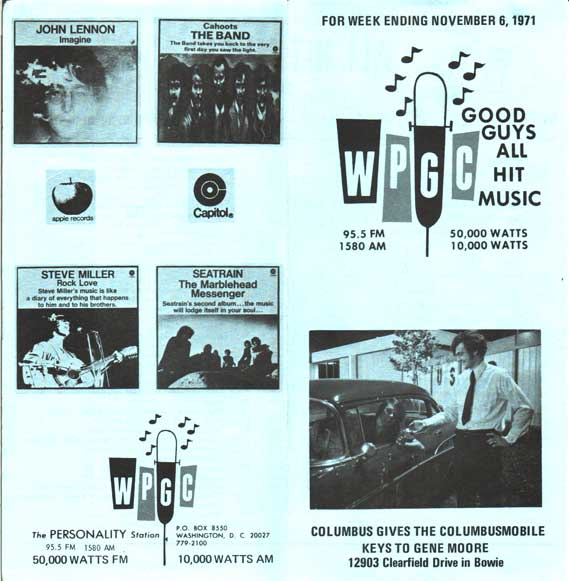 WPGC Music Survey Weekly Playlist - 11/06/71 - Outside