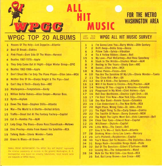 WPGC Music Survey Weekly Playlist - 05/12/73 - Inside