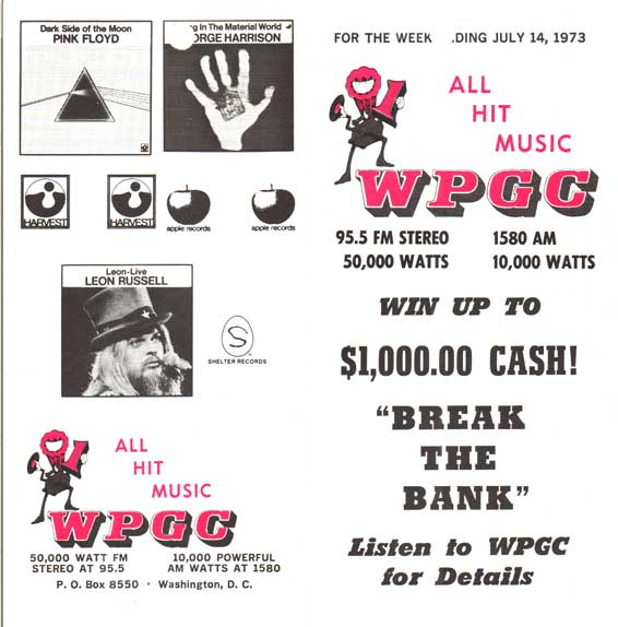 WPGC Music Survey Weekly Playlist - 07/14/73 - Outside