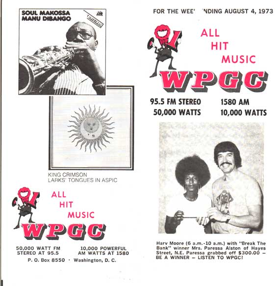 WPGC Music Survey Weekly Playlist - 08/04/73 - Outside