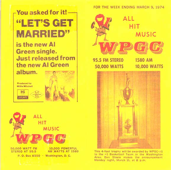 WPGC Music Survey Weekly Playlist - 03/09/74