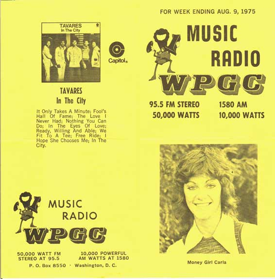 WPGC Music Survey Weekly Playlist - 08/09/75 - Outside
