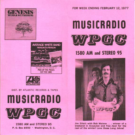 WPGC Music Survey Weekly Playlist - 02/12/77 - Outside