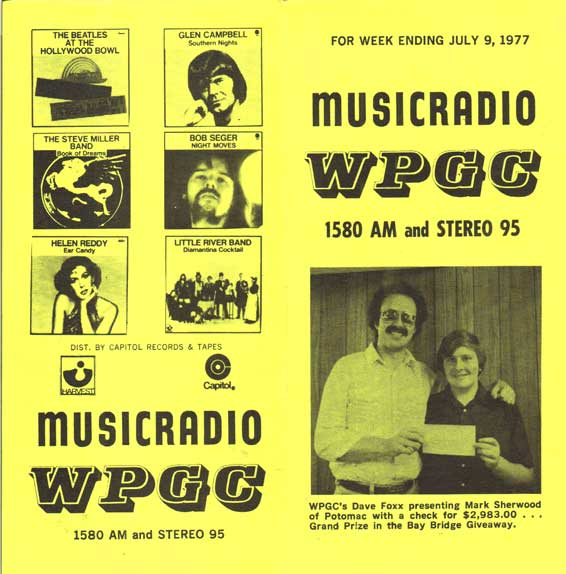 WPGC Music Survey Weekly Playlist - 07/09/77 - Outside