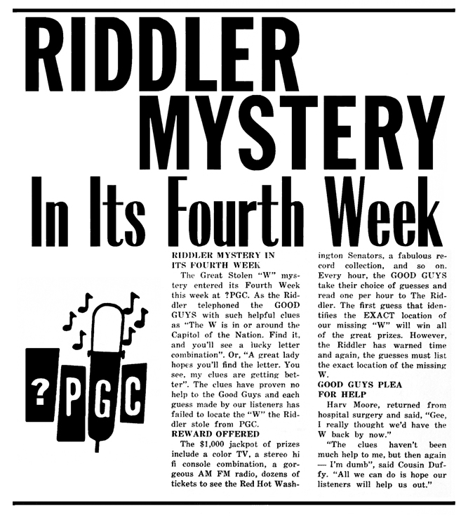 WPGC Article - GO Magazine - 08/04/67 - Riddler Mystery In Its Fourth Week